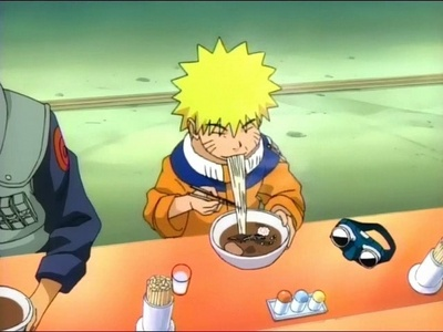 Naruto Uzumaki with and eating his favourite food,ramen.He's so cute:D