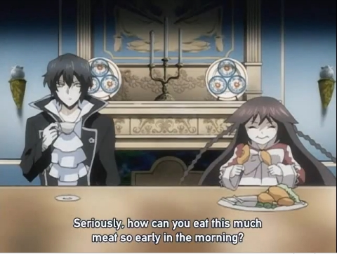 Alice (from Pandora Hearts) eating her favourite food... MEAT! XD