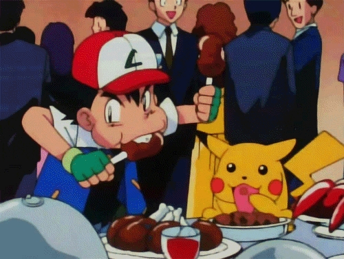 Ash Ketchum and Pikachu eating at a buffet
