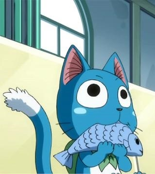 Happy (Fairy Tail) eating his favourite food, fish.