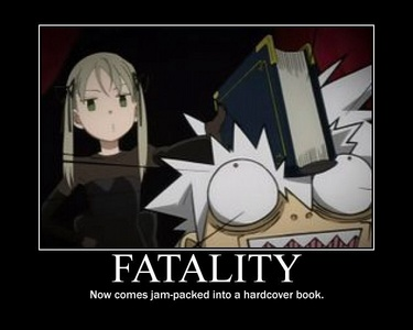 Maka Albarn (Soul Eater) enjoys 읽기 책 very much. In fact she happens to be a bookworm. Maka even uses 책 as one of her primary weapon of choice especially on Soul Eater Evans (and sometimes Black Star)