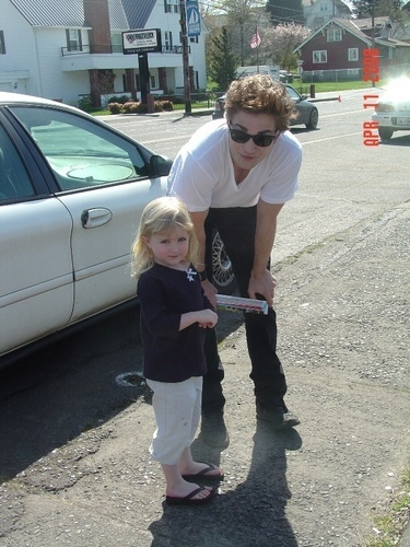 my handsome baby with one of his youngest fans<3