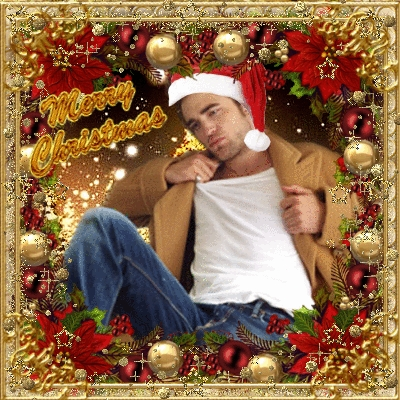 my sexy Robert wearing a Santa hat.Can I sit on your lap,Rob?<3