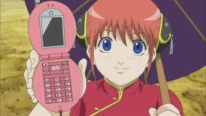 Kagura and her cellhpone... well its actually death cancer's, she got it from Sadaharu's poop XD