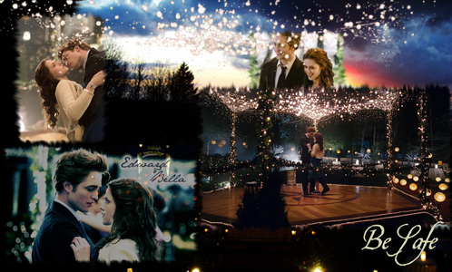 Edward and Bella surrounded door lights in the prom scene from Twilight<3