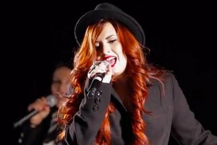 Demi wearing a hat