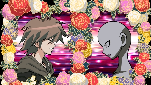 Dangan Ronpa~ Basically, the grey silhouette was tempted to murder someone to escape Hope's Peak High School (They are all locked in, and the only way out is to kill someone). They ended up killing someone, and this is right before the rest of the living cast find out who it is. Plus, one of the incentives in this murder was the promise of money. (I'd post a better picture and use names, but I'd really like to avoid giving out major spoilers!)