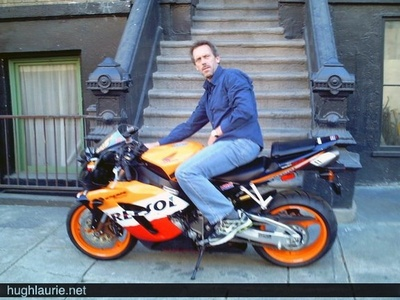 Hugh Laurie and his motorcycle <3