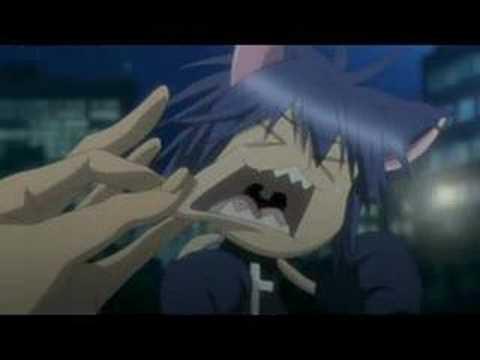 Ikuto pinching and pulling Yoru's cheeks. Yoru is so adorable!