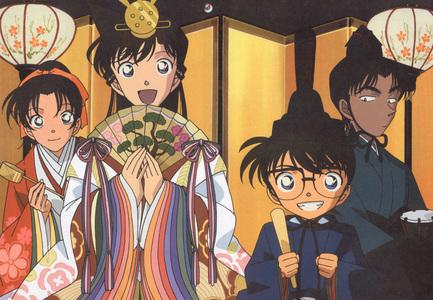 Kazuha Toyama(left) and Ran Mouri(middle) in traditional(origin) kimonos from Detective/Meitantei Conan...