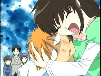 Kyo always truns black/blue when he see's Kagura :P he knows she'll pumble him ANIME---Fruits Basket sorry ._. I couldn't find a good picture