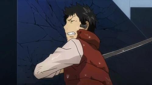 Yamamoto (Katekyo Hitman Reborn!) crashing into the wall.