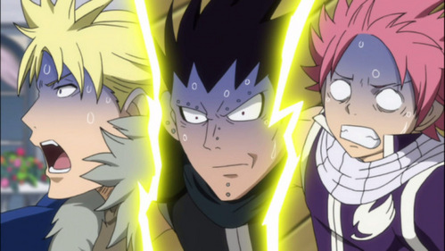 Natsu (Fairy Tail), Gajeel and Sting turning blue because of their motion sickness.