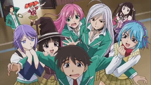 Rosario Vampire if ur looking a similar anime like vampire knight then i suggest.......Rosario Vampire......... there r couple of animes with romance but its not similar to vampire knight au maid sama............aw this anime is completely dubbed tooooo