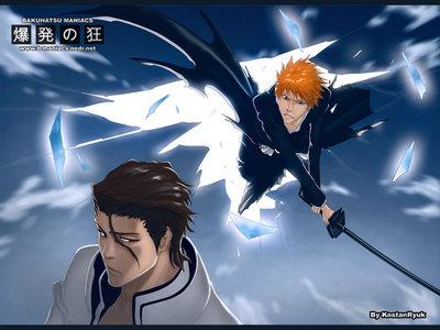 Ichigo Kurosaki (Bleach) Ichigo crashing the senkaimon in the sky and charaging to Aizen...he he he he