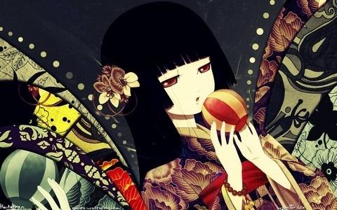 1 - Death Note 2 - Higurashi no Naku Koro Ni 3 - Ghost Hunt 4 - Elfen Lied 5 - Code GEASS: Lelouch of the Rebellion 6 - Puella Magi Madoka Magica 7 - Jigoku Shoujo / Hell Girl (( Picture )) 8 - Le Portrait de Petite Cossette 9 - Another 10 - Shiki