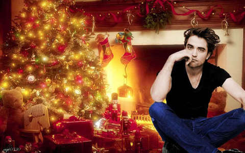 this is the closest I could find of my handsome Robert with a decorated krisimasi tree<3