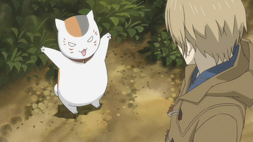 I think Natsume Yuujinchou would count. Though, they are yokai so they aren't wanyama but purely Supernatural beings. This is Nyanko-sensei in his cat form. He is actually a powerful yokai named Madara and can transform himself so I'm not too sure if it counts au not. There are also other yokai au 'spirits' that come from snow, a statue, a chai cup, a sparrow, and even a mirror.