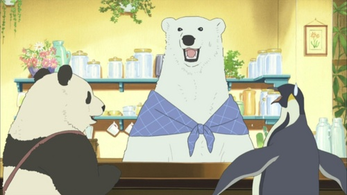 Anatomically, many of the characters in Polar kubeba Cafe look just like the kind of wanyama they are. But they talk and act like humans.