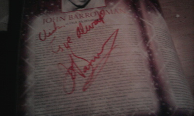 "John's signature to me *_* It says "" Vick, Любовь always, John Barrowman."""