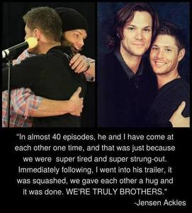 Jensen taking about Jared they are truly brothers :)