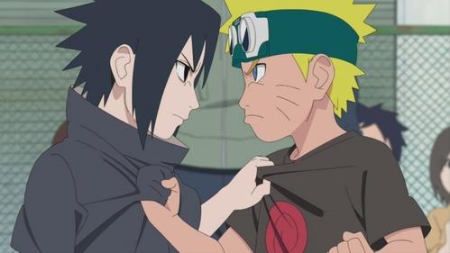Naruto (Naruto) and Sasuke grabbing each others T-shirts.