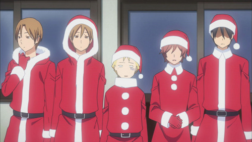 """I usually like those episodes.... especially if the Anime thinks outside the box of 'cliche' Krismas episodes and does something different. Like the Kimi to Boku episode [pictured]... it was humorous like the rest of the Anime so it flowed really well. And they got roped into having to help.... it's like the tajuk should be """"The Krismas that went Wrong."""" But it turned out fun in the end and definitely made me laugh. But overall, Krismas episodes make me smile... they are usually cheesy but oh well, they make me happy. Which is what Krismas should be. And usually it takes characters out of their usual every hari lives and adds in some fun and cute moments. I also really like Valentines hari episodes and I absolutely Cinta the traditional Japanese festival holiday episodes. :)"""