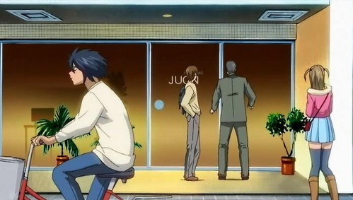 "L, Misa, and Light, from ""Death Note"", were shown for a few sekunde in an episode of ""Full Metal Panic!"". The man standing inayofuata to Light, at the door, is probably Mogi."