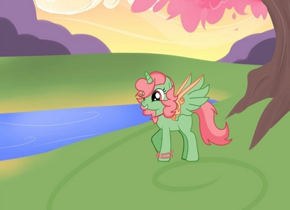 Name: MintyGreen Is a Unicorn. (The wings she made herself to fly around) Is a very Bubbly pony, always having a good time.