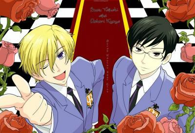"Tamaki and Kyoya in Ouran High School Host Club. They are each others best friend (although Kyoya might argue against ""friend"") and worst rival. Rivals in family's business, personality, and love!"
