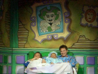 John pretending to sleep in panto scene!