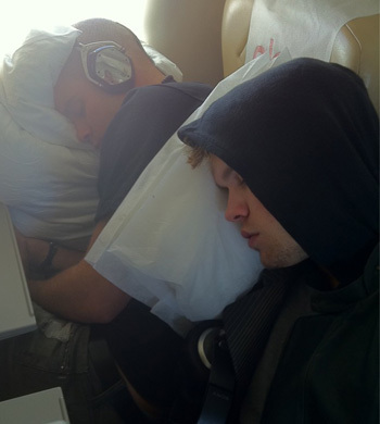 Chord Overstreet asleep on an airplane <3