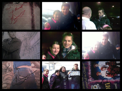 Everything i've had from John over the past week<3 вверх left to right - John's signature from Wednesday, Me and John from today, John on wednesday! Middle left to right - John's signature from Saturday, Me and John from Wednesday,Me and John from today! Bottom left to right - Johns signature from today, Me and John with others from Saturday, The Krankies signature from today!