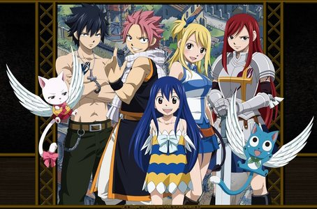 Here's my 上, ページのトップへ 10 Anime: 1. Fairy Tail (Picture) 2. Inuyashsa 3. High School DxD/New 4. Code Geass/R2 5. Cardfight Vanguard 6. Black Cat 7. Dragonaut the Resonance 8. One Piece 9. Digimon Frontier 10. Sword Art Online
