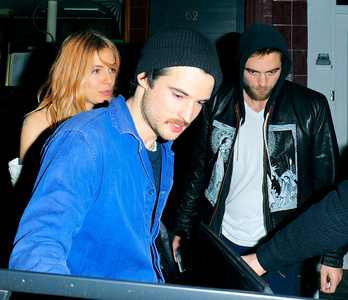 my handsome British hottie with his friends,Tom Sturridge and Sienna Miller<3