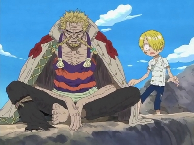 Red foot Zeff & Kid Sanji (One Piece) the tragedy that gave the value of the 食物 to both Zeff and Sanji...after this they learned the importance of 食物 and the became the cheff................he hehe eh e