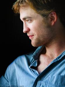 my gorgeous Robert in a blue shirt<3