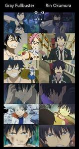 rin from blue exorcist and gray from fairy tail they look sooo much alike i couldnt tell the difference when i first saw them so dont let them fool u. bạn would only know the difference if u saw both animes and u would tell the difference