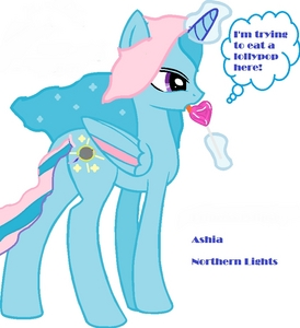 Name: Princess Ashia (Or Northern Lights) Gender: Female Cutie Mark: The northern lights with an eclipse over it. Stars surround the Eclipse. ONE অথবা TWO Hobbies: She likes to go to Luna and Celestia's (Her sisters') castle. She lived there in the shadows, Celestia and Luna thought they হারিয়ে গেছে her when she left them to find their parents 14,000,000 years ago. BRIEF Personality: She's mischievous, Kind, and headstrong. ONE SPECIAL fact: She helps Luna raise the stars at night and is Celestia's পছন্দ sister (since the stars bring light at night). She and Luna used work together to raise the moon until Ashia ran away. Picture of alicorn: