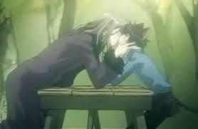 Ritsuka when he was kissed Von Soubi. I would have been shocked, too. I mean, Ritsuka didn't really know him, and Soubi's a lot older than him.