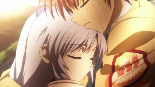 Otonashi crying as he holds Kanade (Angel Beats)