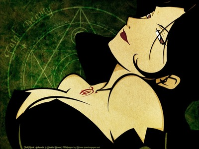 Lust from FullMetal Alchemist: Brotherhood. In the first one, she was bad. In Brotherhood, she was insane. Seductive AND sadistic... oh dear...