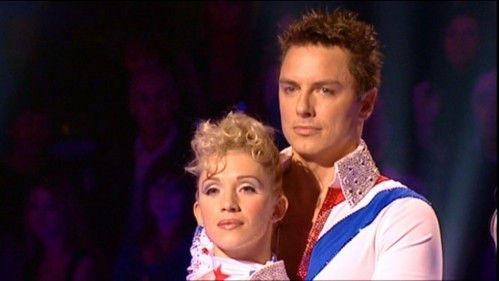 John waiting to see if he got through to the اگلے round on Dancing On Ice!