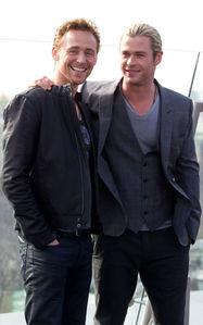 my Aussie babe Chris with his Thor co-star,Tom Hiddleston<3