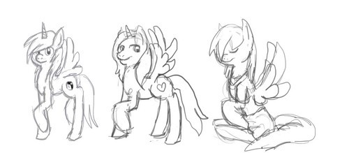 Starburst, please? She's the one on the far left. Her cutie mark is a yin-yang. Her mane is white and goud (yellow) and her body is mainly a simply gray (which is almost white). Yes, she is an alicorn. I did not draw this.
