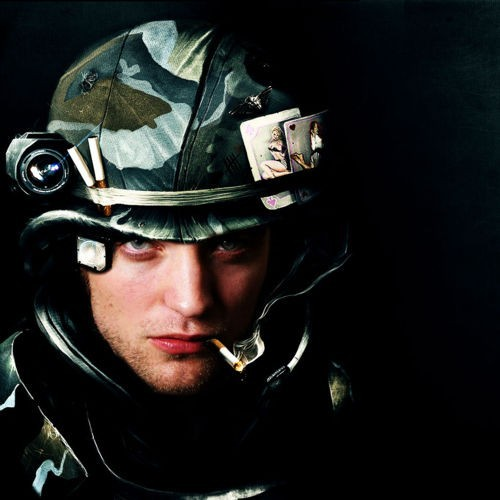 my sexy baby wearing a military helmet<3
