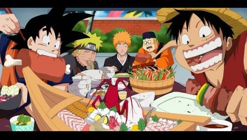 Goku & Luffy (Dragonball z / One Piece) Goku & Luffy having an eating competition........he he he eh