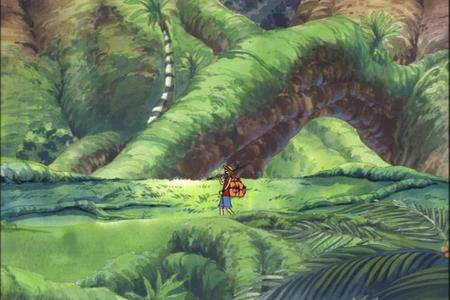 Luffy (One Piece) Luffy walking in as well as strolling through this Sky island forest .........he he he he