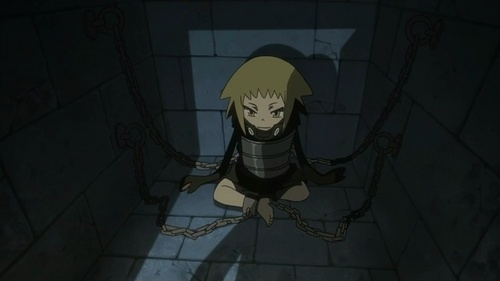 Medusa (her soul now possessing a little girl's body) from Soul Eater being held in the Death Weapon Meister Academy prison