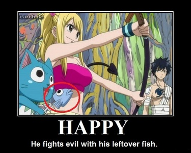 Happy (Fairy Tail) is hungry most of the time and ALWAYS carries Essen with (mainly fish) and is seen eating even in the middle of dangerous situations